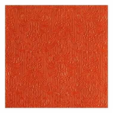 Servetten oranje barok 3-laags 15 stuks