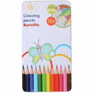 Set van 12 kleurpotloden topwrite kids in blik