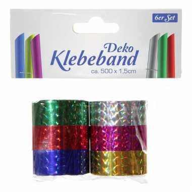 Set van 6 metallic rollen plakband