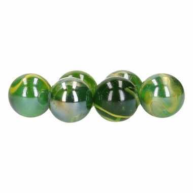 Setje van 6 grote xl knikkers green magic