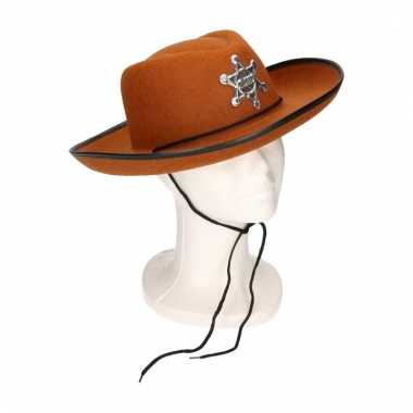 Sheriff cowboyhoed bruin voor kids
