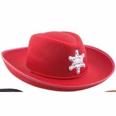 Sheriff cowboyhoed rood voor kids