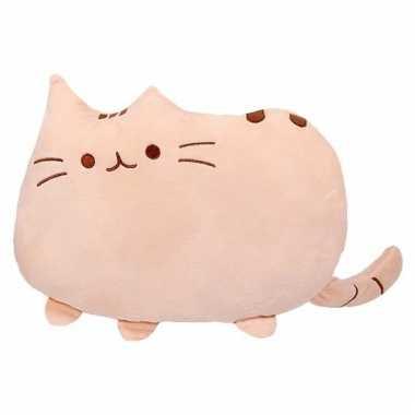 Sierkussen beige katje/poesje 40 cm