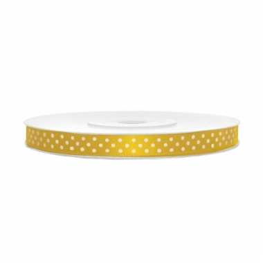 Sierlint satijn geel met witte stip 6 mm