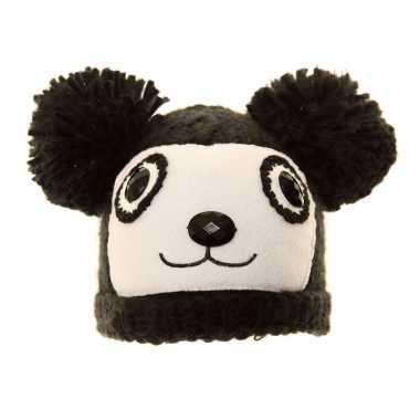 Skimuts zwarte beer met oren voor kinderen