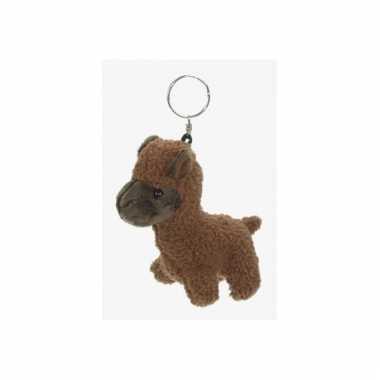 Sleutelhanger alpaca bruin 12 cm