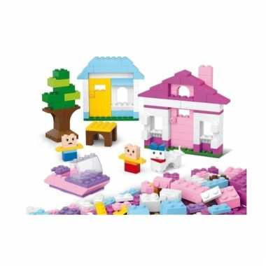 Sluban roze/witte basis blokjes bouwset