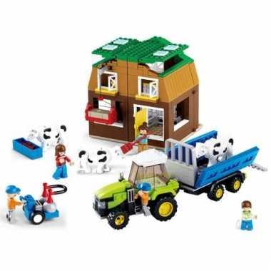 Sluban veehouderij met trekker blokjes bouwset