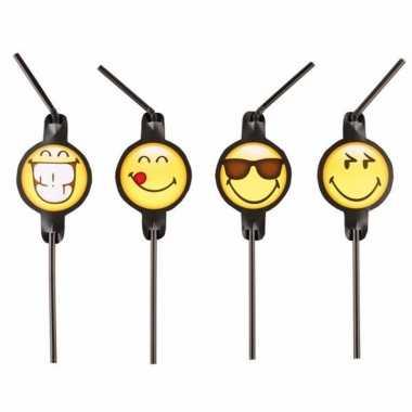 Smiley kinderfeestje rietjes 8 stuks