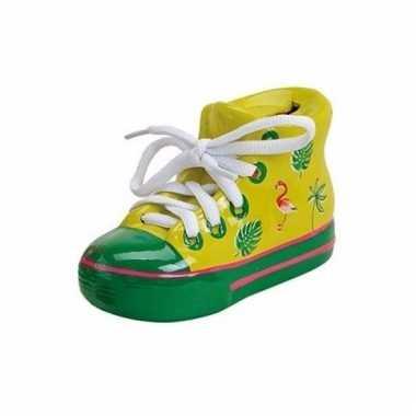 Sneakers spaarpot keramiek 14 cm geel