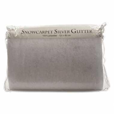 Sneeuw tapijt zilver glitter 80 x 120 cm