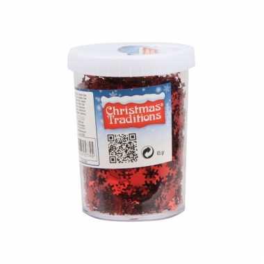 Sneeuwvlok confetti rood 45gram