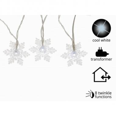 Sneeuwvlok verlichting koud wit 24 l met 8 knipperfuncties
