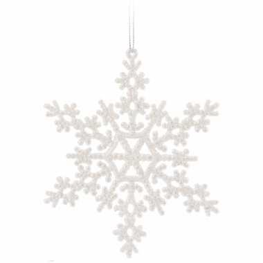 Sneeuwvlok wit met glitters 14,5 cm