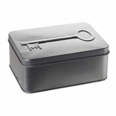 Snoepdoos met sleutel print zilver 14, 5cm