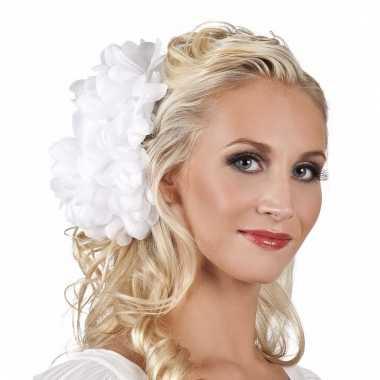 Spaanse bloem haarklem wit 20 cm