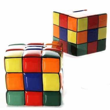 Spaarpot kubus van keramiek 10 cm