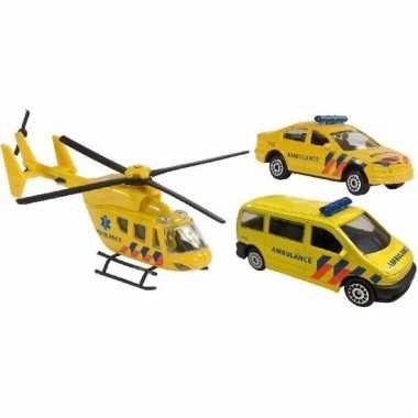 Speel nederlandse hulpdiensten ambulance autootjes en helikopter