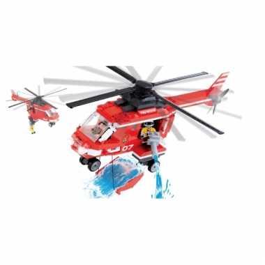 Speelgoed brandweer helikopter bouwstenen set