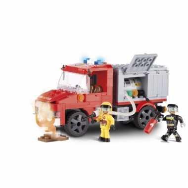 Speelgoed brandweerauto bouwstenen set
