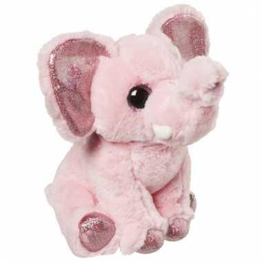 Speelgoed dieren olifant knuffel roze 18 cm
