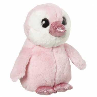Speelgoed dieren pinguin knuffel roze 18 cm