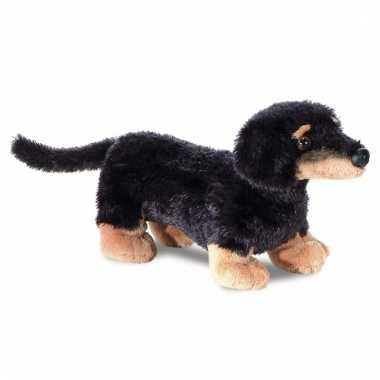 Speelgoed honden knuffel teckel 20 cm