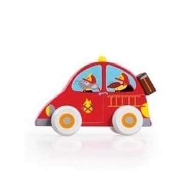 Speelgoed houten rode brandweerwagen