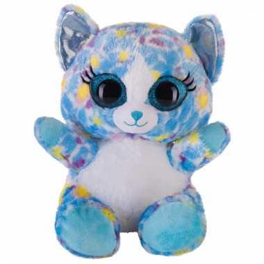 Speelgoed knuffel blauw katje/poesje 20 cm