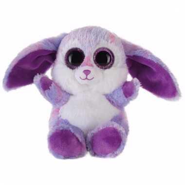 Speelgoed knuffel paars haasje/konijntje 15 cm