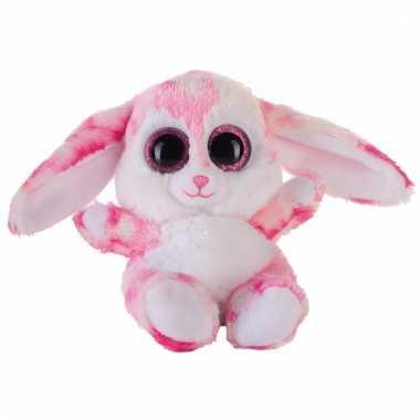 Speelgoed knuffel roze haasje/konijntje 15 cm