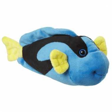 Speelgoed knuffel vis blauw/geel 22 cm