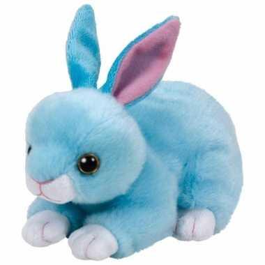 Speelgoed knuffeldier blauwe konijntje ty beanie jumper 15 cm