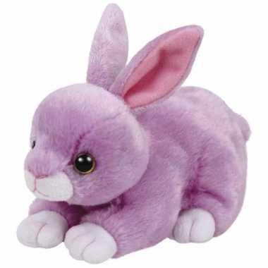 Speelgoed knuffeldier paars konijntje ty beanie dash 15 cm