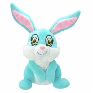 Speelgoed konijntje knuffel blauw 30 cm