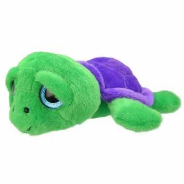 Speelgoed schildpad knuffel groen/paars 24 cm