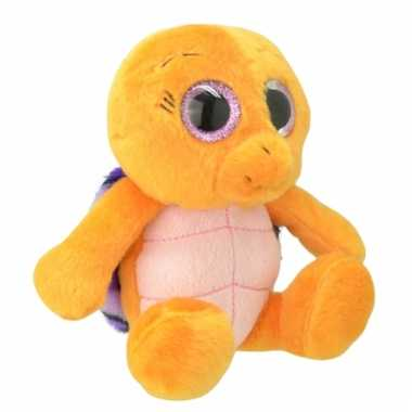 Speelgoed schildpad knuffel oranje/paars 18 cm