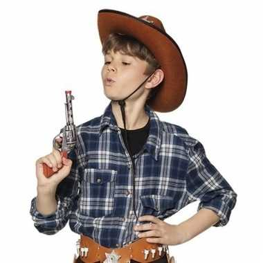 Speelgoed sheriff revolvers/pistolen zilver 20 cm