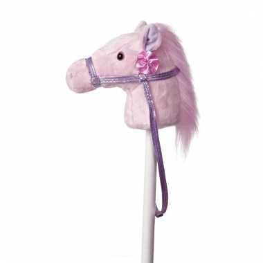 Speelgoed stokpaardje roze pony met geluid 94 cm