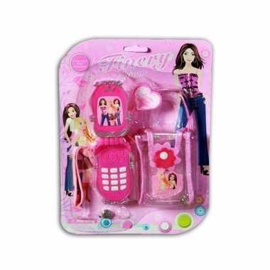 Speelgoed telefoon roze met tasje voor kinderen