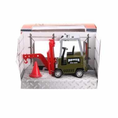 Speelgoed vorklift groen 17 cm werkvoertuig