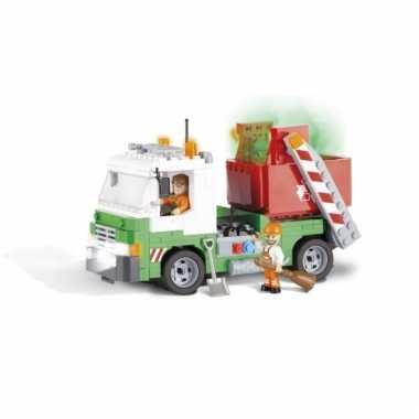 Speelgoed vuilnisauto bouwstenen set