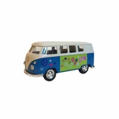 Speelgoed vw print busje blauw autootje 15 cm