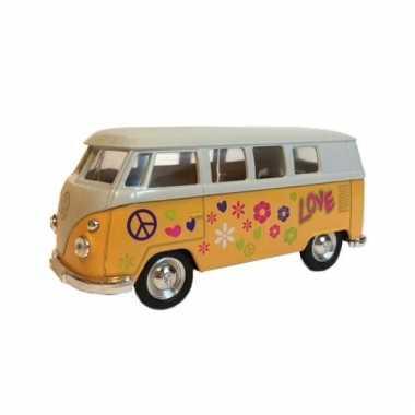 Speelgoed vw print busje geel autootje 15 cm