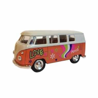 Speelgoed vw print busje oranje autootje 15 cm
