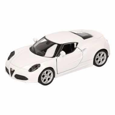 Speelgoedauto alfa romeo 4c 2013 wit 16 cm