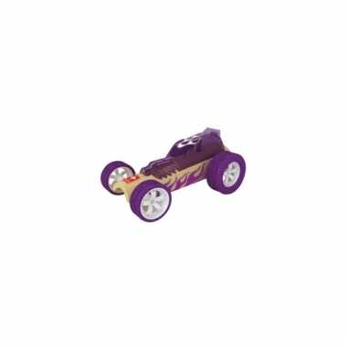 Speelgoedauto bamboe paars raceauto 8 cm