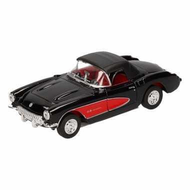 Speelgoedauto chevrolet corvette gesloten cabrio zwart 12 cm