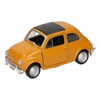 Speelgoedauto fiat 500 classic mosterdgele 10,5 cm