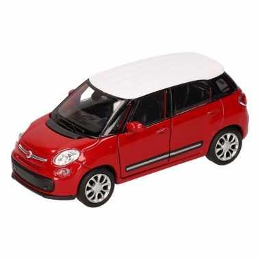 Speelgoedauto fiat 500 l rood wit 11,5 cm
